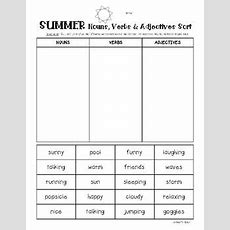 Summer Nouns, Verbs And Adjectives Sorting Worksheet Pack By 4 Little Baers