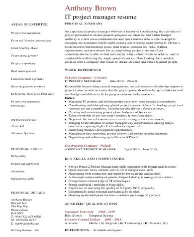 project management skills resume samples sample it project manager resume 9 examples in word pdf