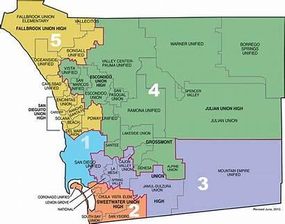 Map Diego San County District Board California