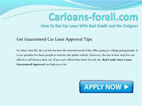 How To Get A Car Loan With Bad Credit And No Cosigner