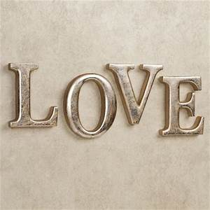 Love letters wall word art set for Gold letters for wall