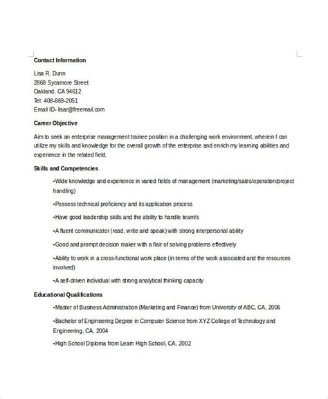 Company Trainee Resume by Manager Resume Sle Templates 43 Free Word Pdf