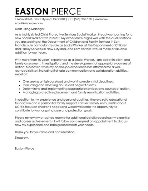Social Services Resume Cover Letter by Social Services Cover Letter Exles Livecareer