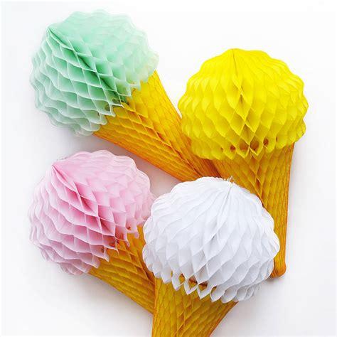 ice cream cone tissue paper party decoration  peach