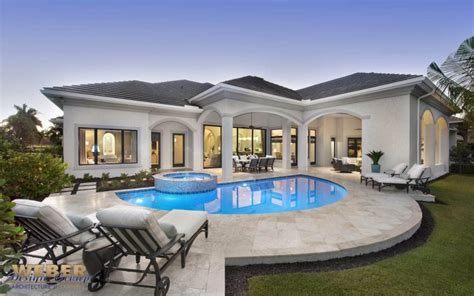 mediterranean lakefront home design  story contemporary  pool