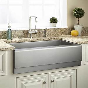 33quot archer stainless steel farmhouse sink beveled apron With barnyard sink