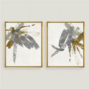 Silver gold brushstroke canvas wall art leaf set of