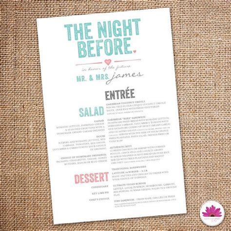 night  rehearsal dinner menu digital