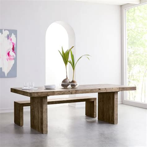 reclaimed elm dining table emmerson 174 reclaimed wood expandable dining table west elm 4529