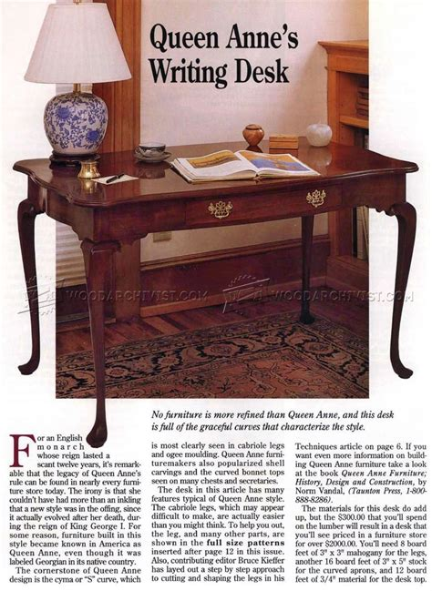queen anne writing desk plans woodarchivist