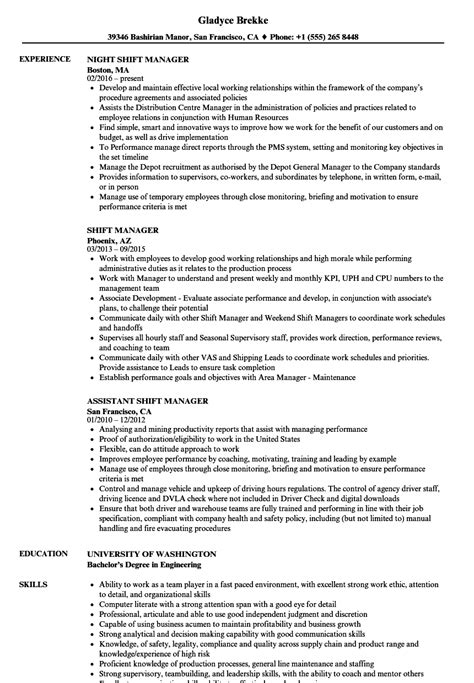 Shift Manager Resume by Shift Manager Resume Sles Velvet
