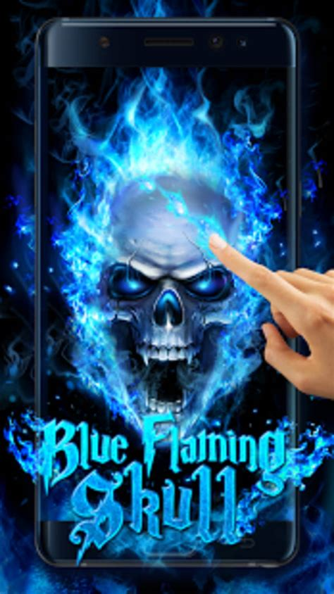 blue fire skull  wallpaper  android