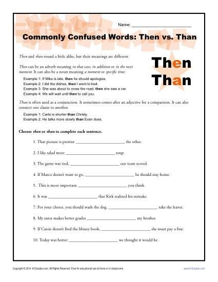 Then Vs Than Worksheet  Easily Confused Words