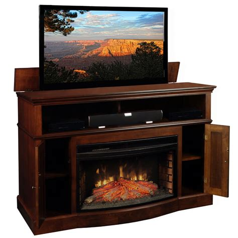 tv lift cabinet with fireplace for inch flat screens coffee tv lift cabinet at006449 huntington fireplace lift for