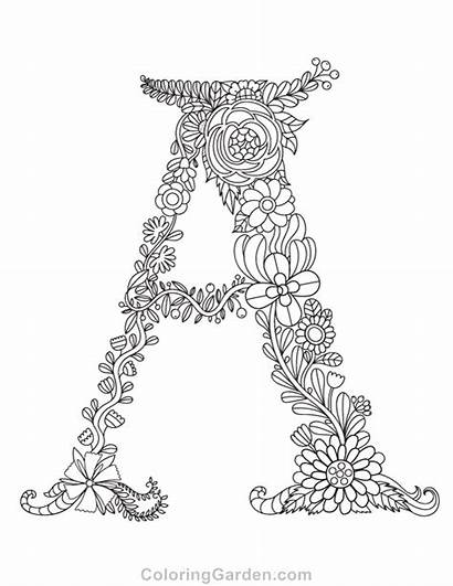 Coloring Letter Pages Floral Letters Adult Printable