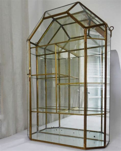 display cabinet with glass vntg brass glass mirror table top wall curio display