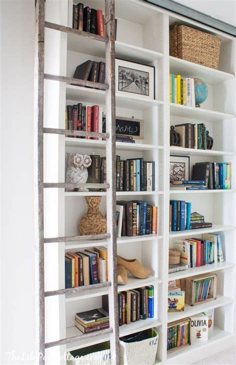 ikea library ladder billy bookcase hack with library ladder runners shelves and cottages