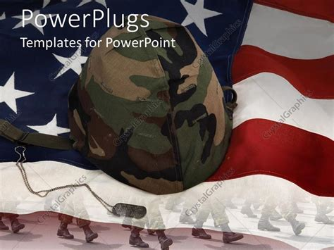 military powerpoint powerpoint template an american flag with a soldier s helmet 30623