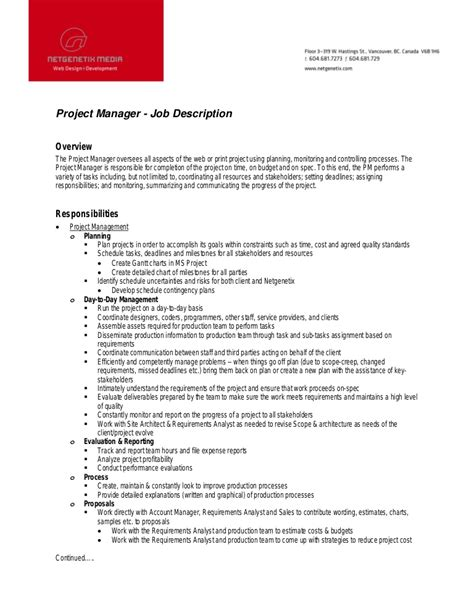 12 project manager description recentresumes