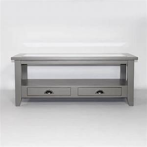 Table Basse Bois Gris : table basse bois massif gris fonc plateau en verre calvi ~ Melissatoandfro.com Idées de Décoration