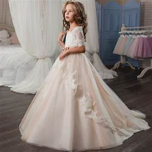 Adorable girl pageant dresses satin tired peach lace up for Robe de chambre enfant avec matelas cher