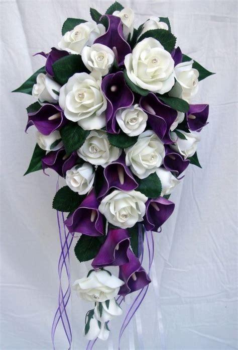 wedding bouquets calla lilies wedding bouquet purple calla roses diamante ebay 8498