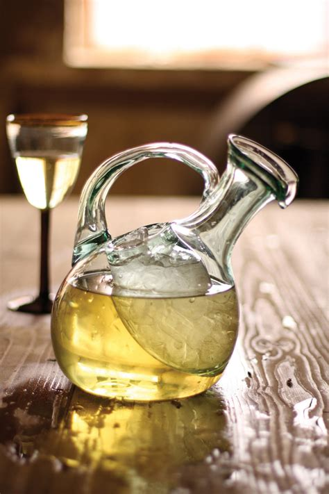 tilted wine decanter  ice pocket recycled glass wine carafe  hand blown ice pocket