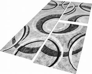 Teppich Bettumrandung 3 Teilig : bettumrandung teppich mit konturenschnitt grau schwarz creme l uferset 3 tlg teppiche ~ Bigdaddyawards.com Haus und Dekorationen