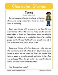 reading comprehension worksheet caring - Second Grade Comprehension