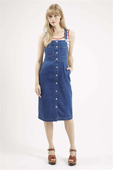 MOTO Denim Midi Pinafore Dress - Dresses - Clothing