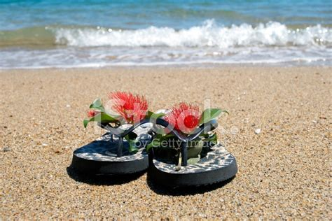 Kiwiana Christmas; Jandals By The Sea Stock Photos