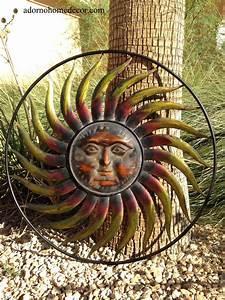 Large round metal sun wall decor garden art indoor outdoor