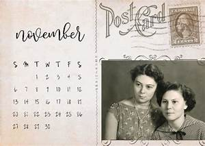 Printable December Calendar Vintage Postcard Calendar Creative Calendars