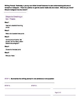 3 Point Thesis Statement Worksheet By The Project Gurus Tpt