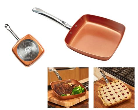 copper chef square fry pan set     stick ceramic frying oven safe ebay