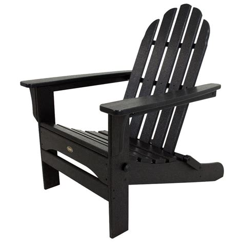 black plastic adirondack chairs home depot polywood classic black oversized curveback patio