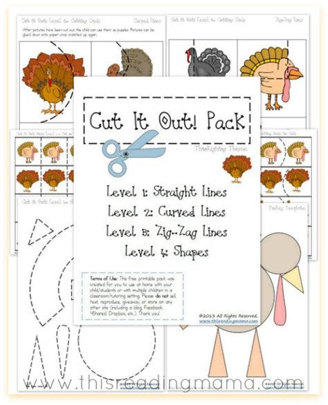thanksgiving worksheets free cutting practice pack free
