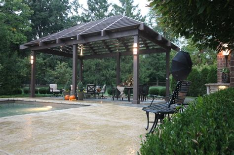 louvered roof pergola and pool traditional patio st louis by poynter landscape