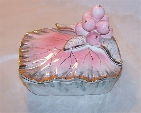 ucagco ceramic leaf  berry trinket box japan japanese
