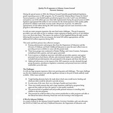 Executive Summary Quality Prek Expansion In Arkansas