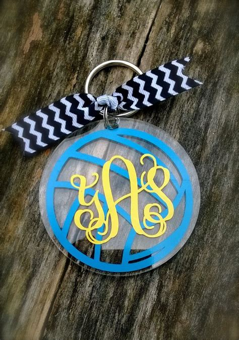 volleyball monogram personalized acrylic keychain key tag luggage tag  pack tag