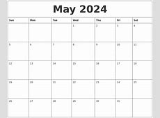 May 2024 Calendar Layout