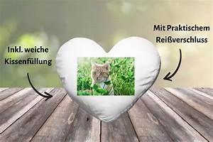 Herzkissen Mit Foto : herzkissen mit foto selbst gestalten online photogreets ~ Watch28wear.com Haus und Dekorationen