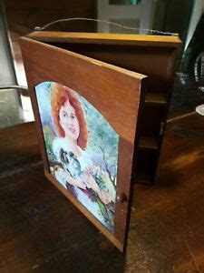 vintage wood cabinet hand painted girl  cats knick knack medicine wall hung ebay