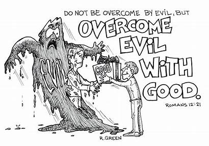 Evil Overcome Romans Bible Overcoming Coloring Pages