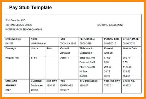 easiest      sample pay stub template