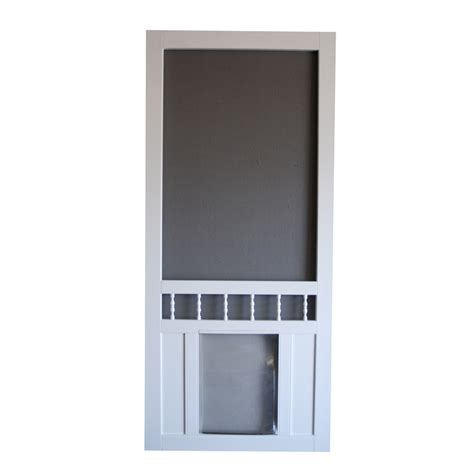 shop screen tight southport 36 in white vinyl screen door with pet door at lowes