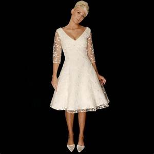 judy knee length short lace wedding dress with sleeves With knee length wedding dresses with sleeves