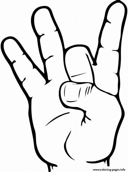 Asl Number Coloring Pages Printable Language Sign
