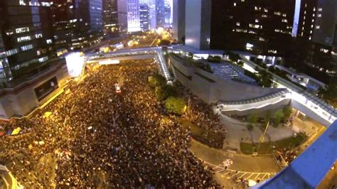 aerial drone captures scale  hong kong protests